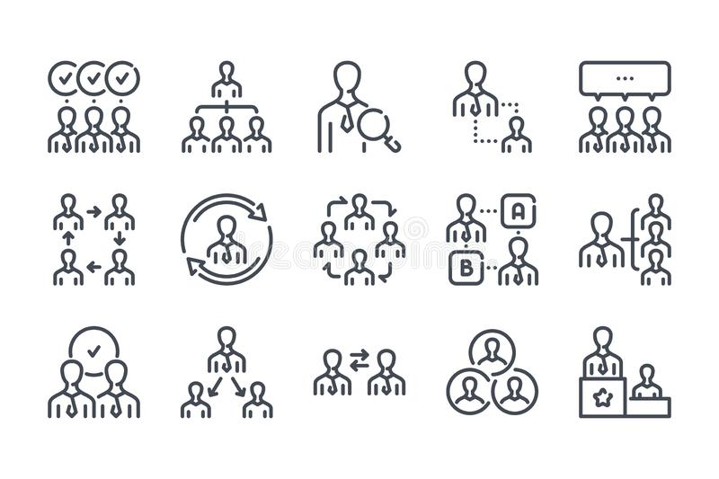 Teamwork and Workflow line icons. vector illustration