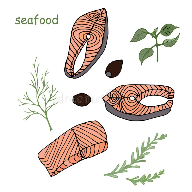 Pieces of salmon and dill basil olives seasoning. Seafood illustration food object isolated art colorful. Design element stock vector illustration for menu stock illustration