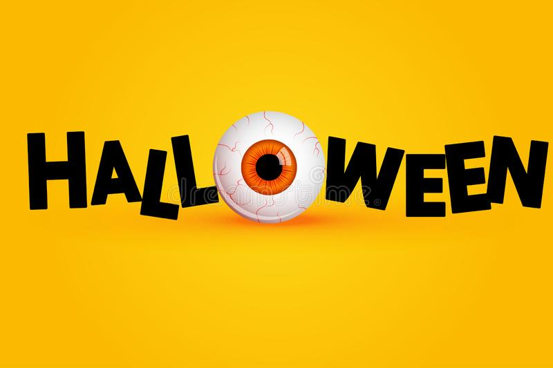 Funny Halloween greeting card with monster orange eyes. Vector isolated illustration on yellow background royalty free illustration