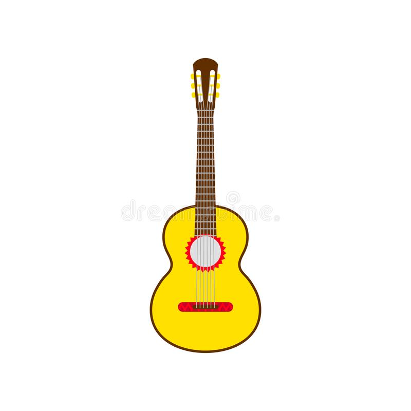 Yellow Mexican guitar. Vector isolated illustration on white background. Music concept royalty free illustration