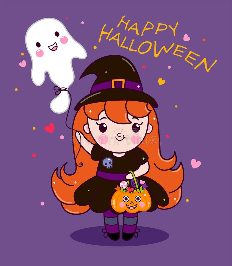 Vector illustration of baby girl character cartoon in beautiful dress with ghost and treats vector illustration