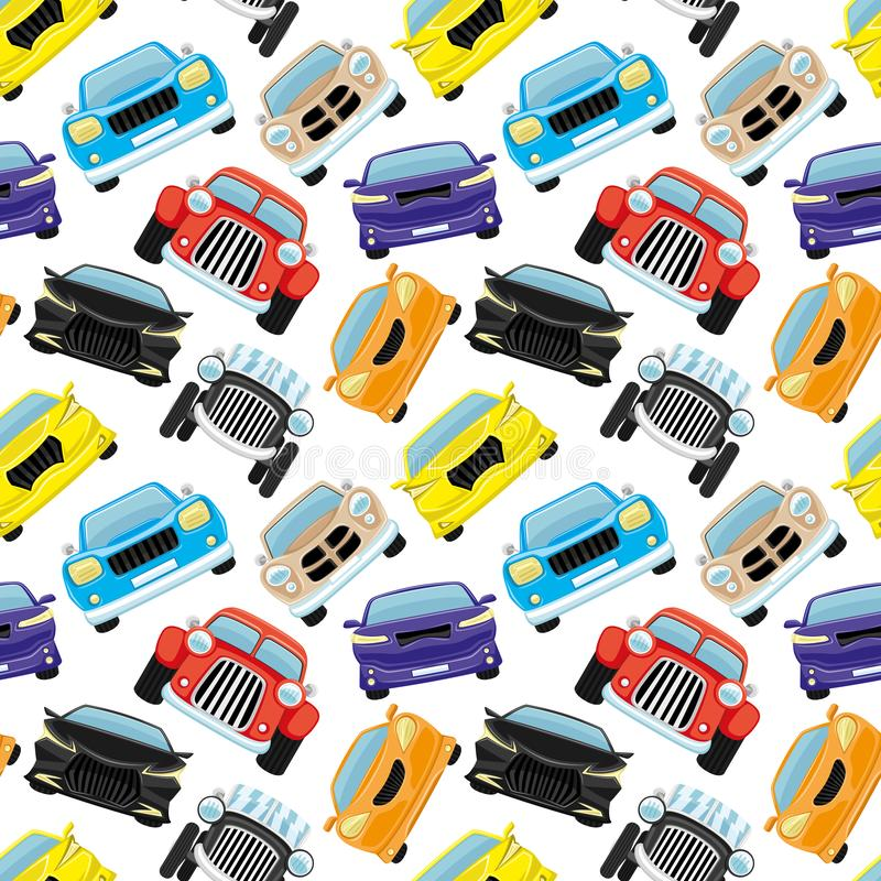 Seamless pattern with colored cars. stock illustration