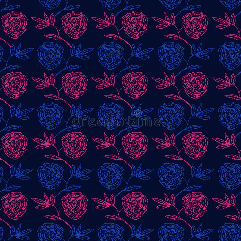 Light blue and pink roses drawn on a dark blue background stock illustration