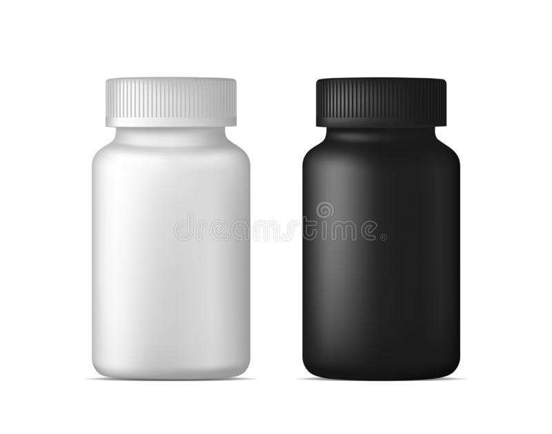 Realistic vector pill bottle. White and black plastic medicine container for drugs. Sport, health and nutritional supplements. Moc royalty free illustration