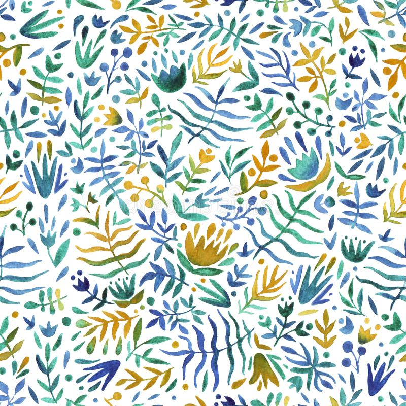 Seamless pattern of hand made watercolor leaves and flowers. royalty free stock photo