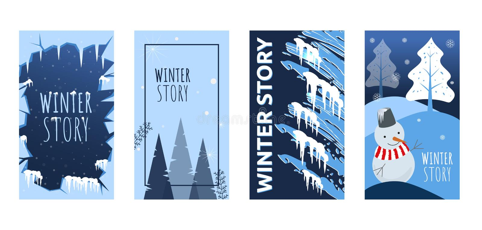 Set of abstract winter backgrounds for social media stories. Colorful winter banners with snowy scenes. Best for banner, flyer, in stock illustration