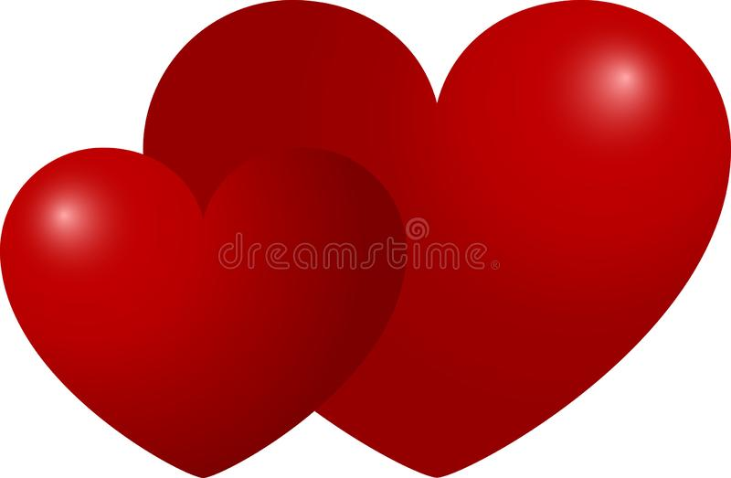 Two red hearts next to a white background, valentines day, vector illustration stock photos