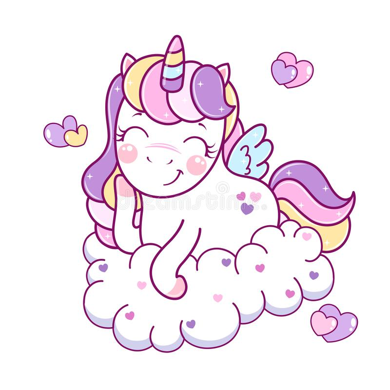 Vector illustration of little adorable unicorn cartoon character on a cloud. vector illustration