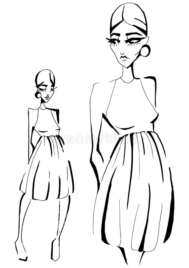 Fashion Sketch Of Fashion Design Art In A Dress With A Short Skirt Fashion Model Hand Drawn Black Ink Lines Pose Isolated Art Stock Illustration Illustration Of Accessory Black 173013420