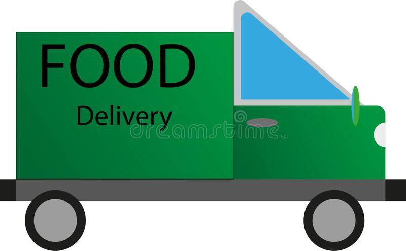 Food delivery sign. Green delivery truck with blue glass and the words `food delivery` on the back royalty free illustration