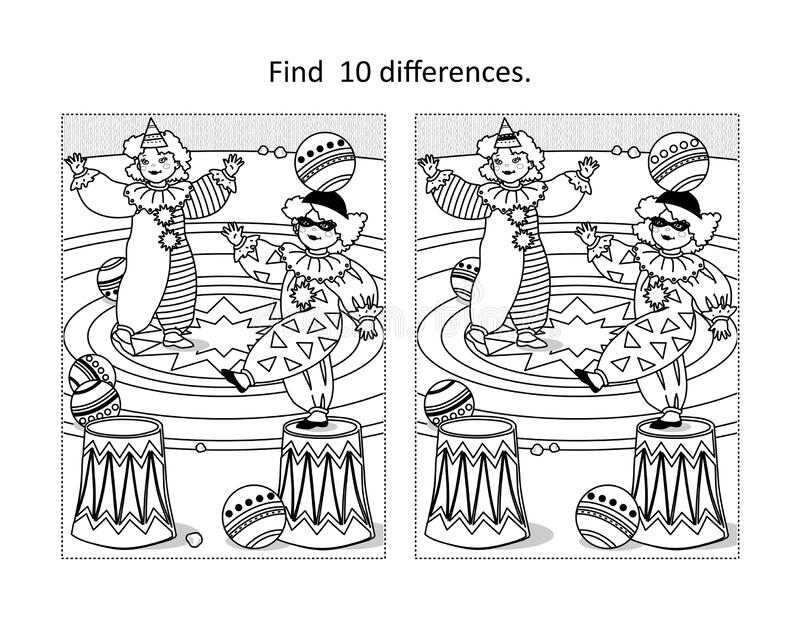 Little Clowns Find The Differences Picture Puzzle And Coloring Page Stock Vector Illustration Of Circus Colouring 194580491