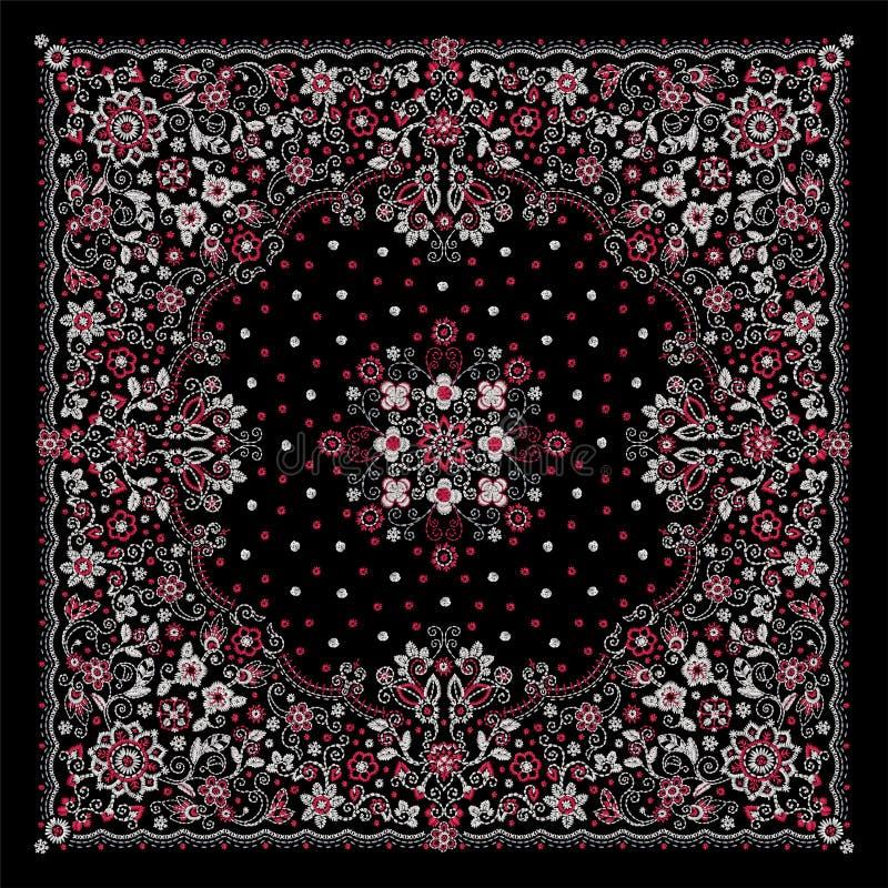 Печать Bandana вышивки орнамента вектора флористическая, шарф шеи шелка или стиль дизайна картины банданы квадратный для печати д иллюстрация штока