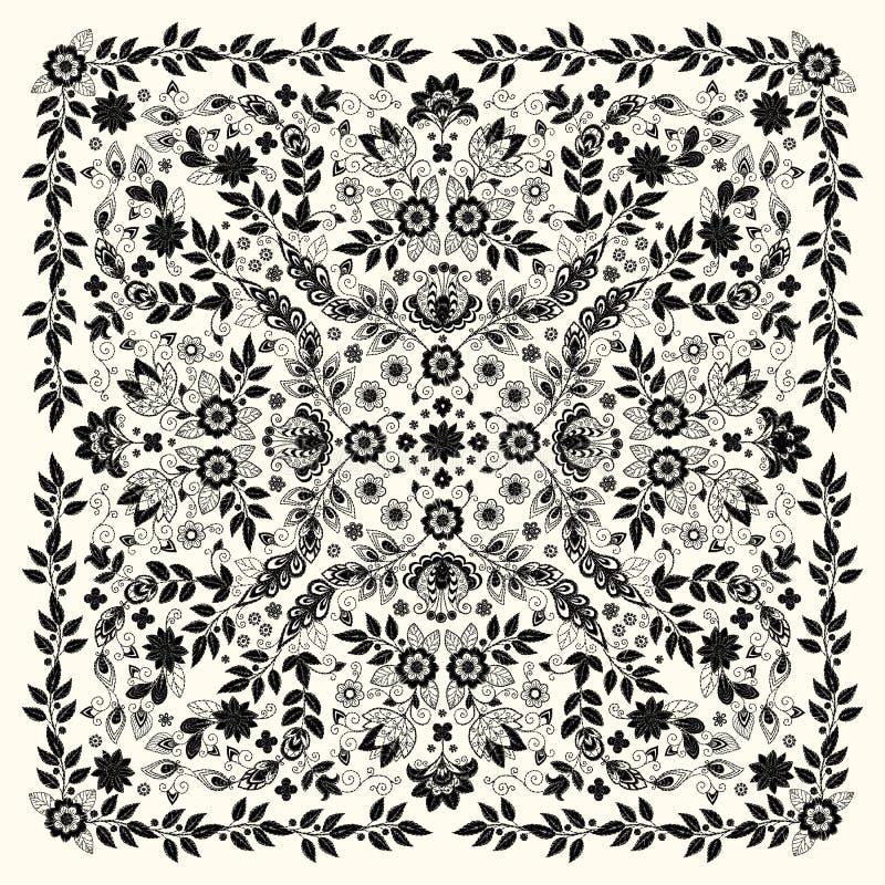 Печать Bandana вышивки орнамента вектора флористическая, шарф шеи шелка или стиль дизайна картины банданы квадратный для печати д иллюстрация вектора