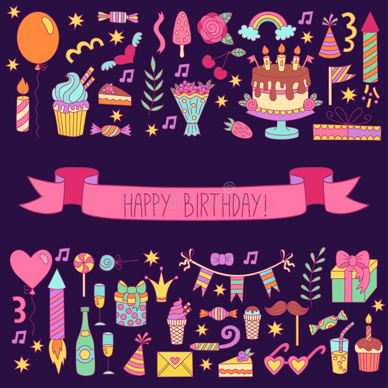 Birthday greeting card. Doodle icons colorful template royalty free illustration