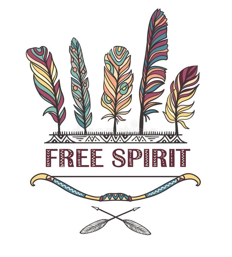 Печать Boho с пер, стрелками и индийским смычком Vector дизайн с орнаментальной фразой - свободным духом бесплатная иллюстрация