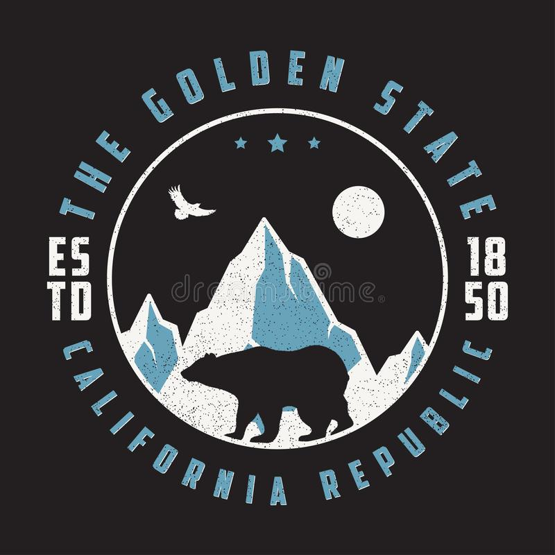 California vintage t shirt with grizzly bear, mountains and eagle. Retro typography graphic for design tee shirt and apparel. stock illustration