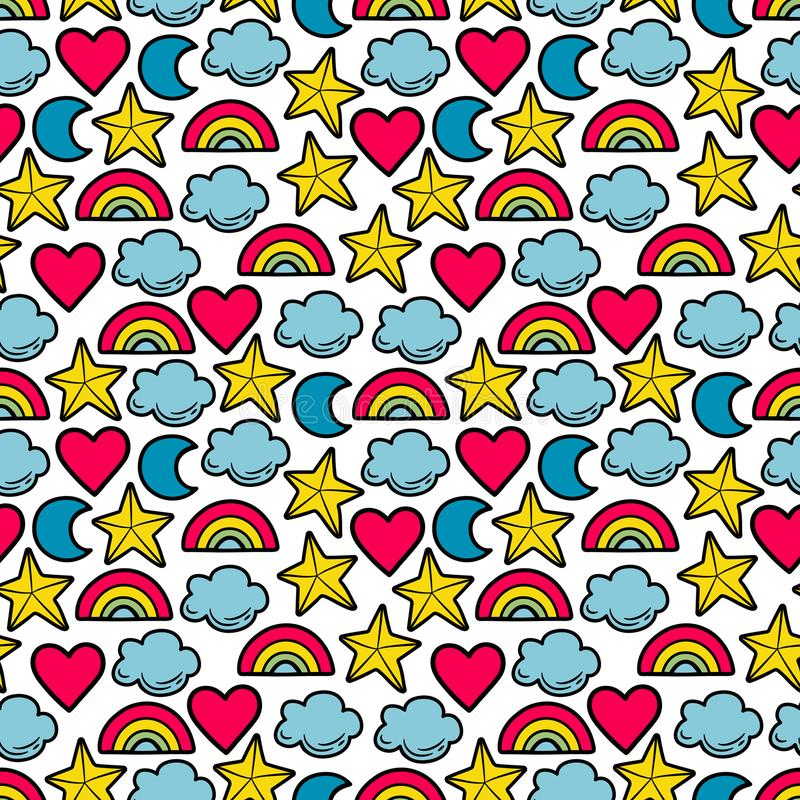 Seamless multi-colored pattern with stars, clouds, moon, rainbow. royalty free illustration