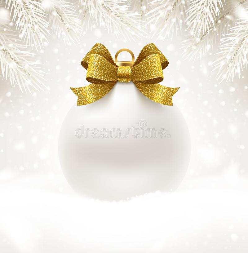Christmas white bauble with glitter gold bow ribbon and copy space for your greeting or message. Christmas ball on a snow. Holiday vector illustration. Design stock illustration