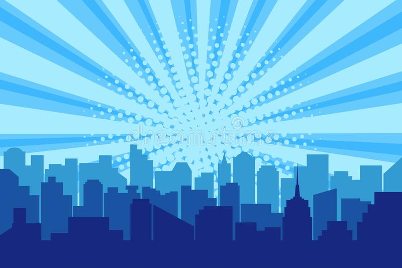 Comic city silhouette with sun rays halftone background. Pop art cityscape in blue colors with comics backdrop. Vector royalty free illustration