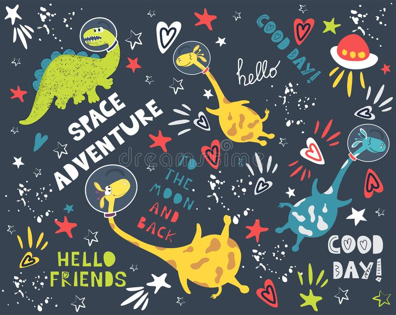 Fashion vector background with space adventure. Planets and constellations royalty free illustration