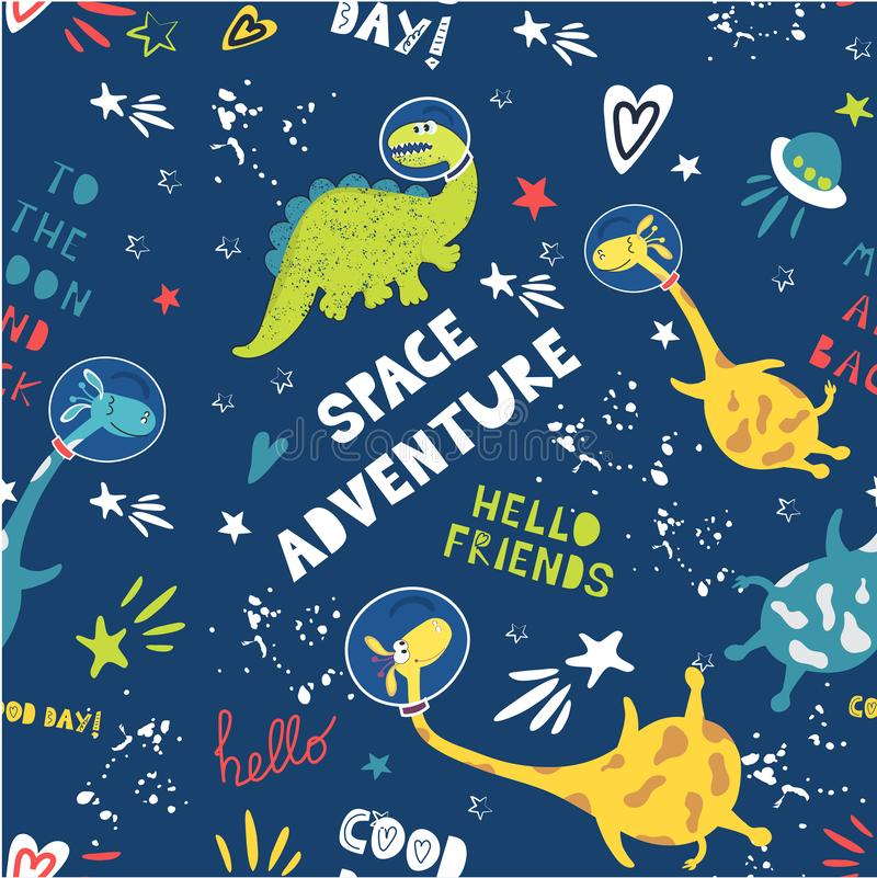 Beautiful seamless vector background space adventure. Cute animals astronauts dinosaur and giraffe in space. Children`s fashion. Seamless pattern. Cool space royalty free stock images