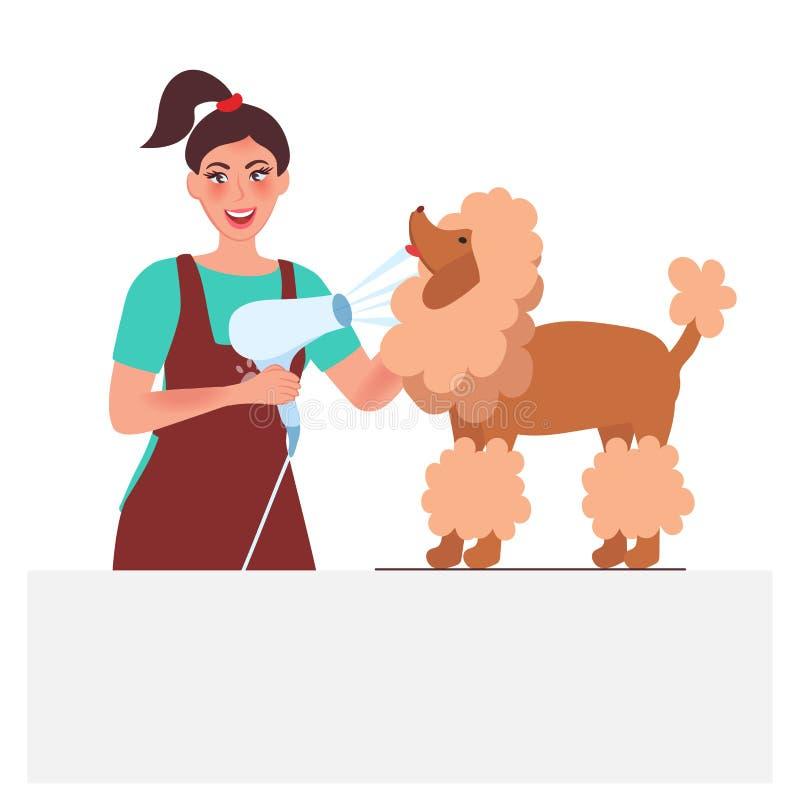 Dog groomer. Professional dog care and hygiene stock illustration