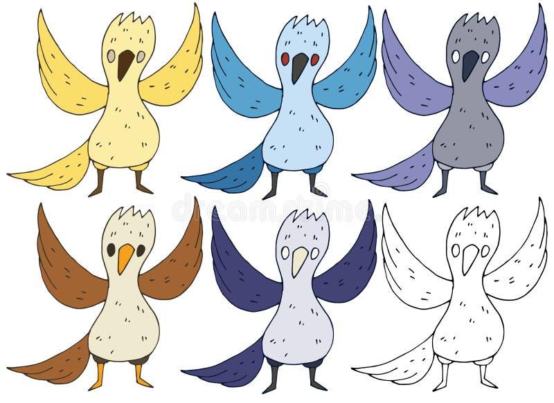 Печать doodle руки притяжки чудовища птиц цвета мультфильма установленная иллюстрация штока