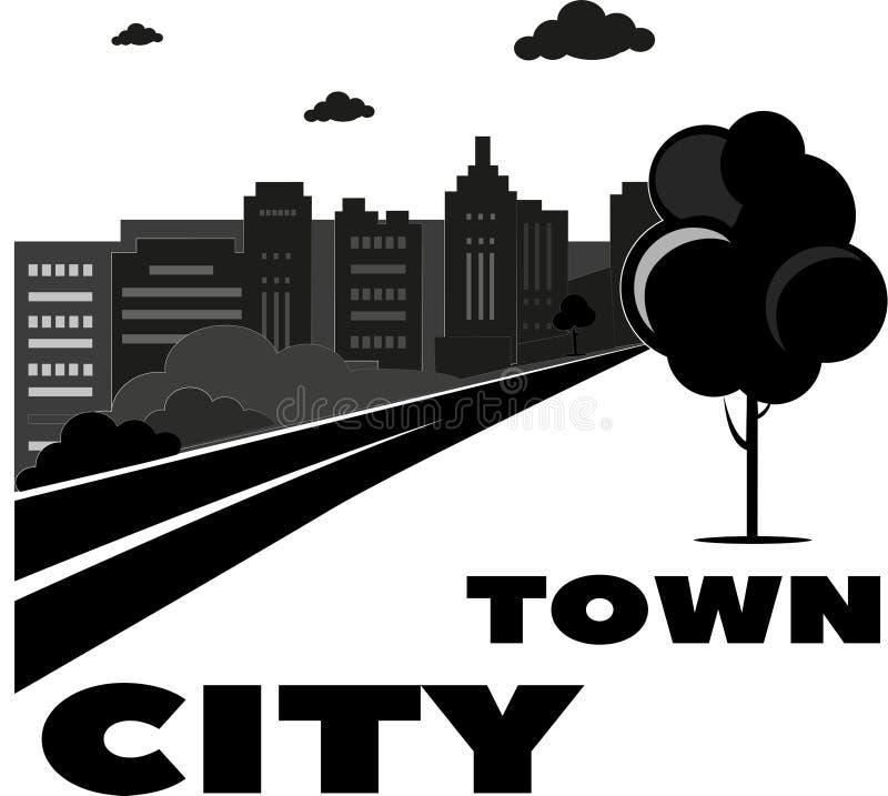 Flat icons set of urban landscape and city life black and white royalty free illustration