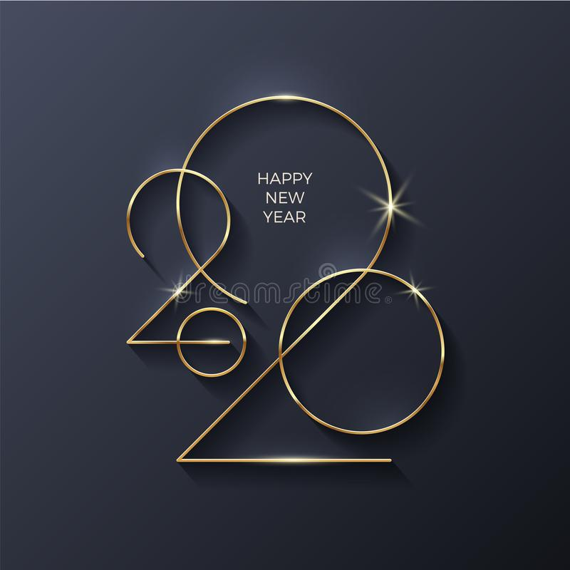 Golden 2020 New Year logo. Holiday greeting card. Holiday design for greeting card, invitation, calendar, etc royalty free stock images