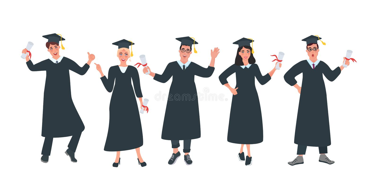Graduates students with diplomas. Happy young students. Group of graduates students with diplomas. Happy young students. Vector illustration stock illustration