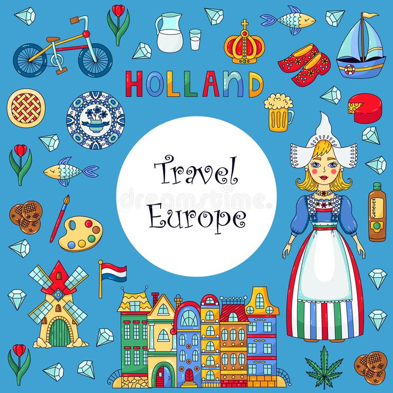 Holland Netherlands doodles icons vector illustration