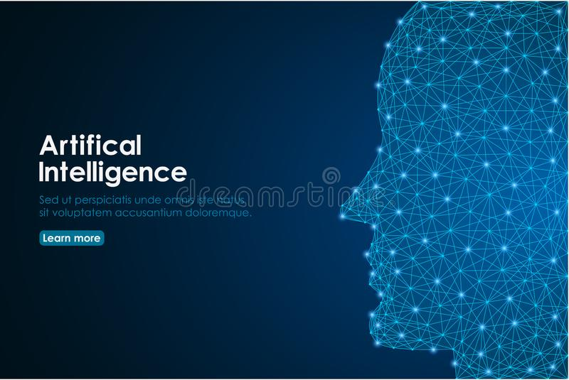 Human head created in low poly, human face made by polygonal wireframe mesh. Concept of Artificial Intelligence. stock illustration