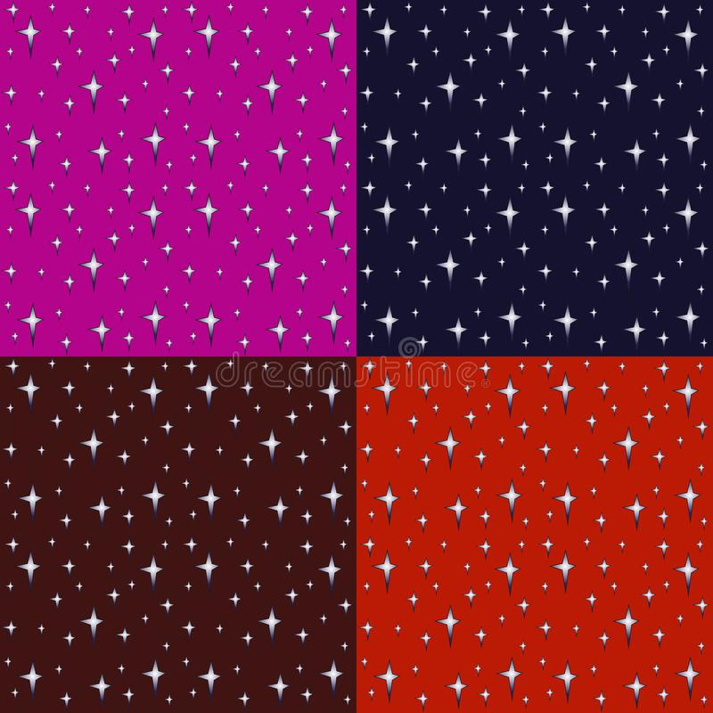 Illustration of bright stars and colorful background, set of four seamless background for textile or paper products vector illustration