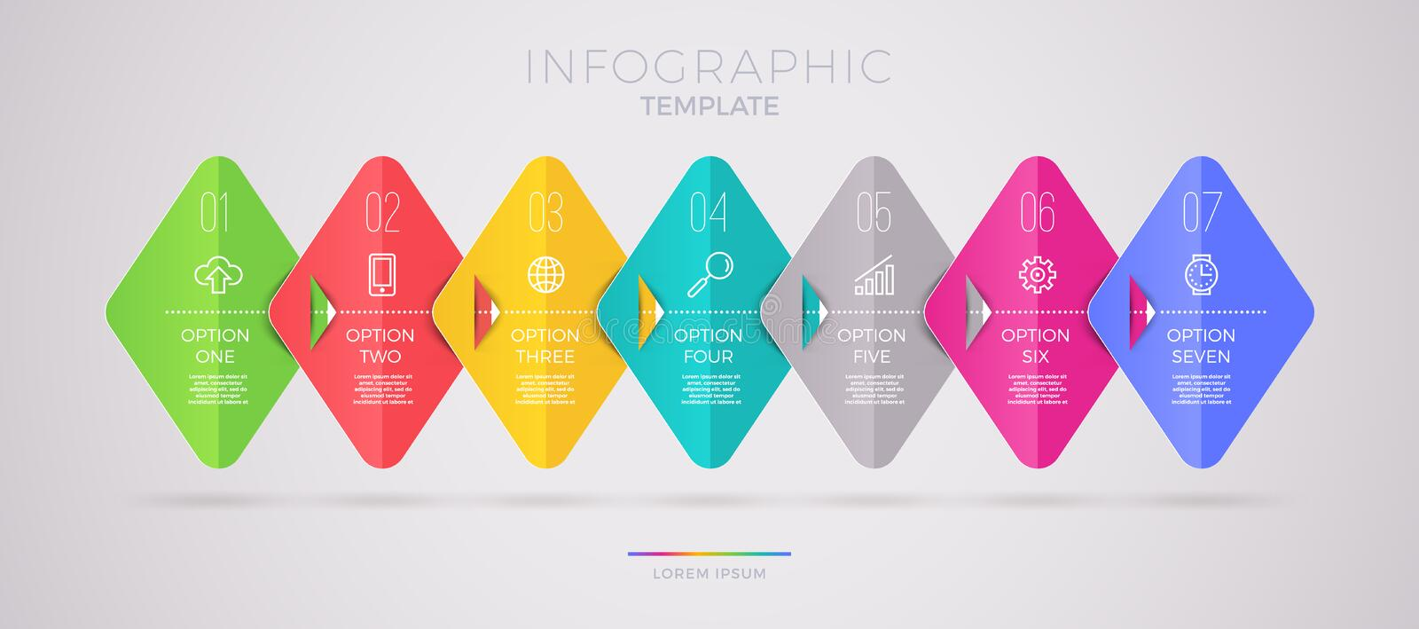 Infographic template design with business icons. Flow chart witn seven options or steps. Infographic business concept. Design for presentation, promotion vector illustration