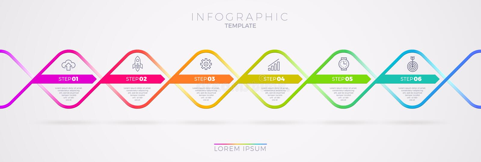Infographic template design with business icons. Flow chart witn six options or steps. Infographic business concept. stock illustration