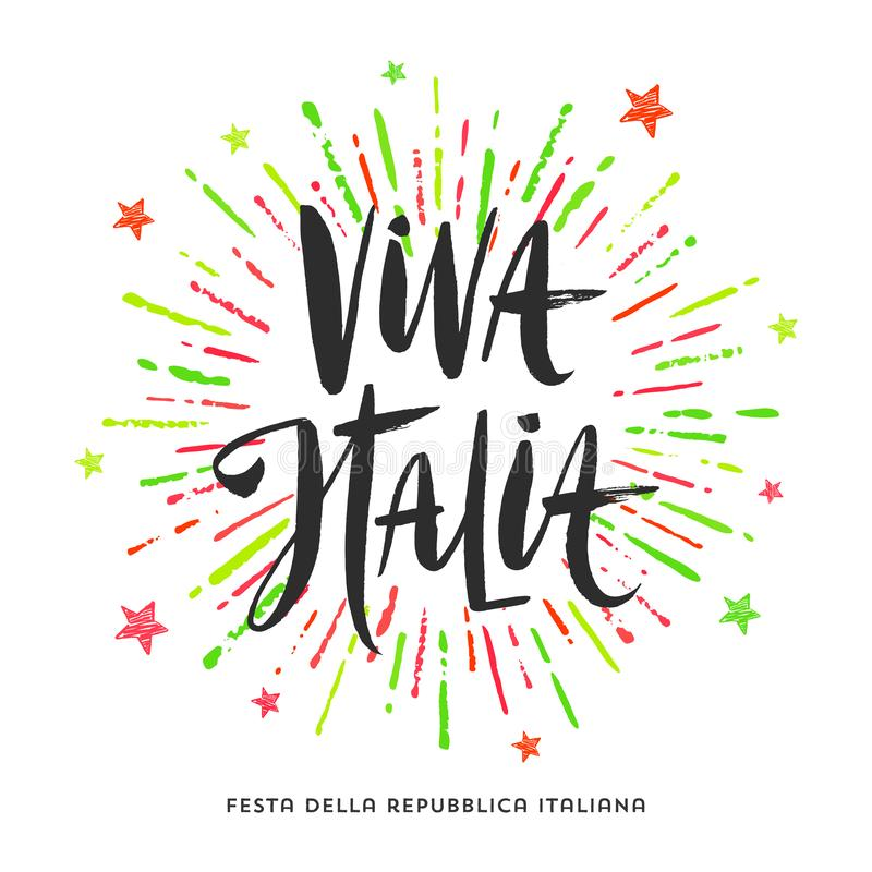 Italian republic day hand drawn illustration. Brush lettering greeting and colorful fireworks burst. Italian republic day hand drawn vector illustration. Brush royalty free illustration