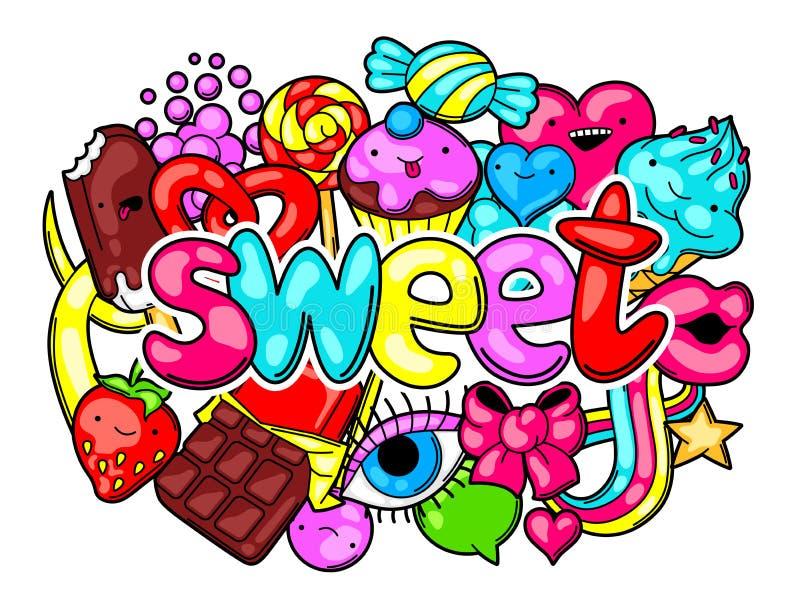 Печать Kawaii с помадками и конфетами Шальное сладостн-вещество в стиле шаржа иллюстрация вектора