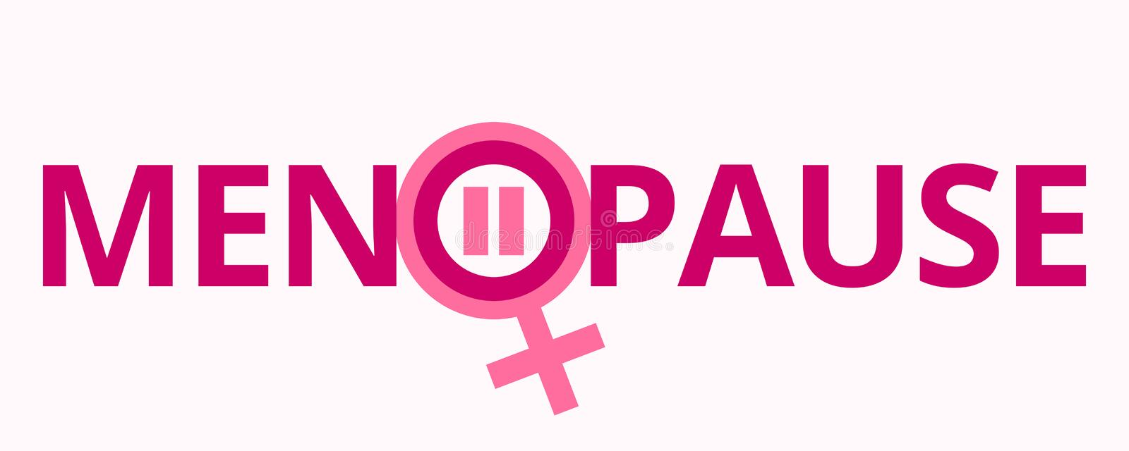 Menopause with gender symbol in pink color. Menopause, medical, healthcare and feminine concept. Vector illustration in flat style vector illustration