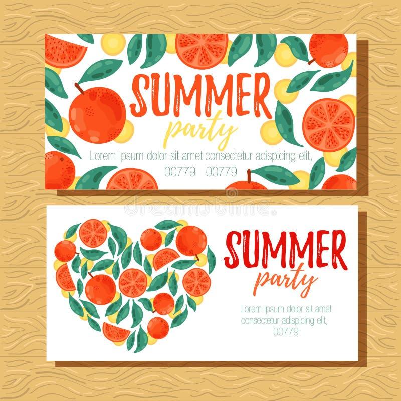 Orange fruits banner templates. Oranges summer party banner design templates vector illustration stock illustration