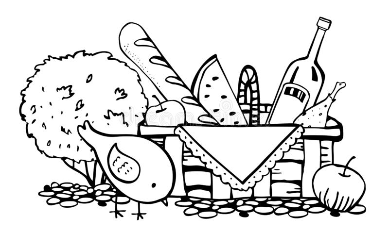 Picnic basket with food on the ground with bird and bush. Outline vector sketch illustration stock illustration