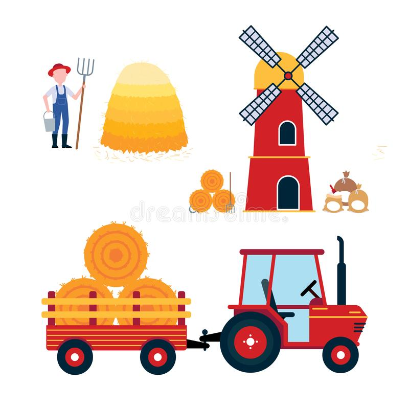 Red mill, harvesting tractor with semi-trailer and hay bale icon sign, haystack, hay sheaf and farmer. With hayfork and bucket set isolated on white background royalty free illustration