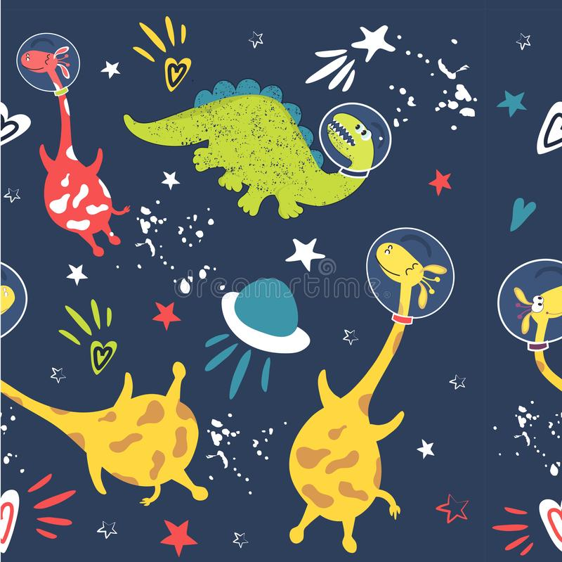 Astronauts Dino and giraffe super background fabric packing. Seamless pattern Cute animal astronauts dinosaurs giraffe. Constellations and planets in outer space stock illustration