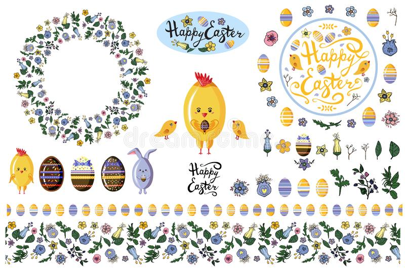 Set with  design elements isolate on white for easter and spring flyers, advertisments, announcements. Set with  design elements for easter and spring flyers vector illustration