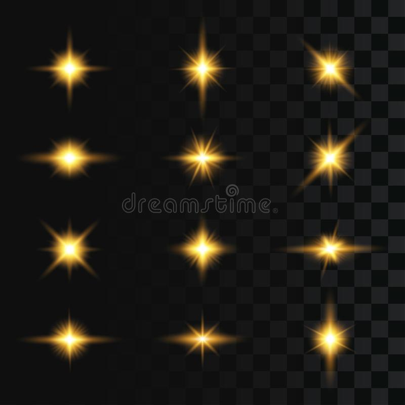 Set of flashes, star burst and sparkles on transparent background. Light effect, golden glowing flash with gold rays and lights. royalty free illustration
