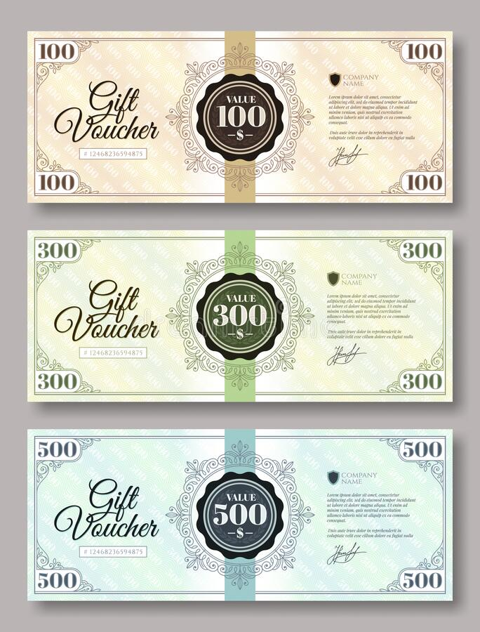 Set of gift voucher template various value - 100 dollars, 300 dollars and 500 dollars. royalty free stock image