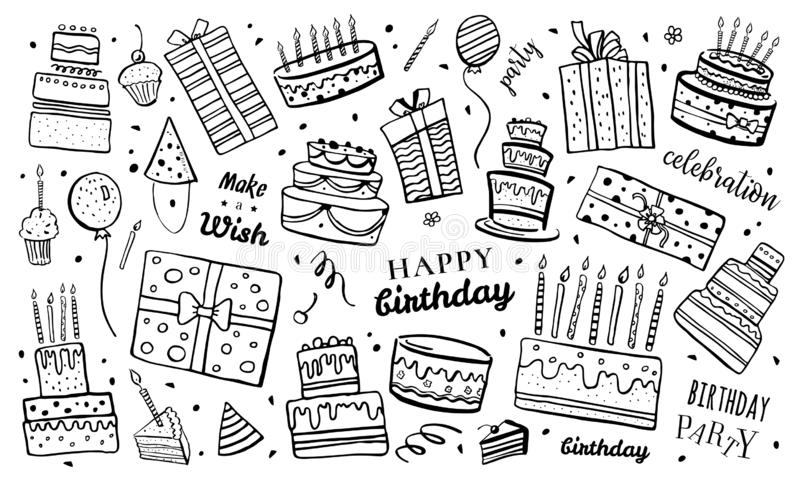 Set of stylized birthday cakes, gift boxes, balloons and decorations. Hand drawn cartoon vector sketch isolated illustration vector illustration