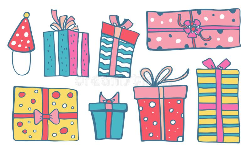Set of stylized different color gift boxes. Hand drawn cartoon vector sketch doodle illustration royalty free illustration