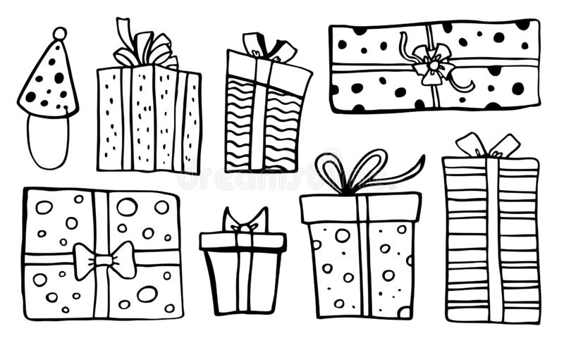 Set of stylized different gift boxes. Hand drawn cartoon vector black sketch illustration royalty free illustration