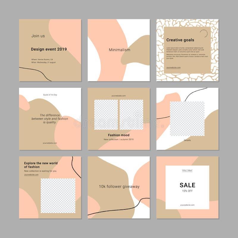 Minimalistic social media pack, banner templates vector illustration