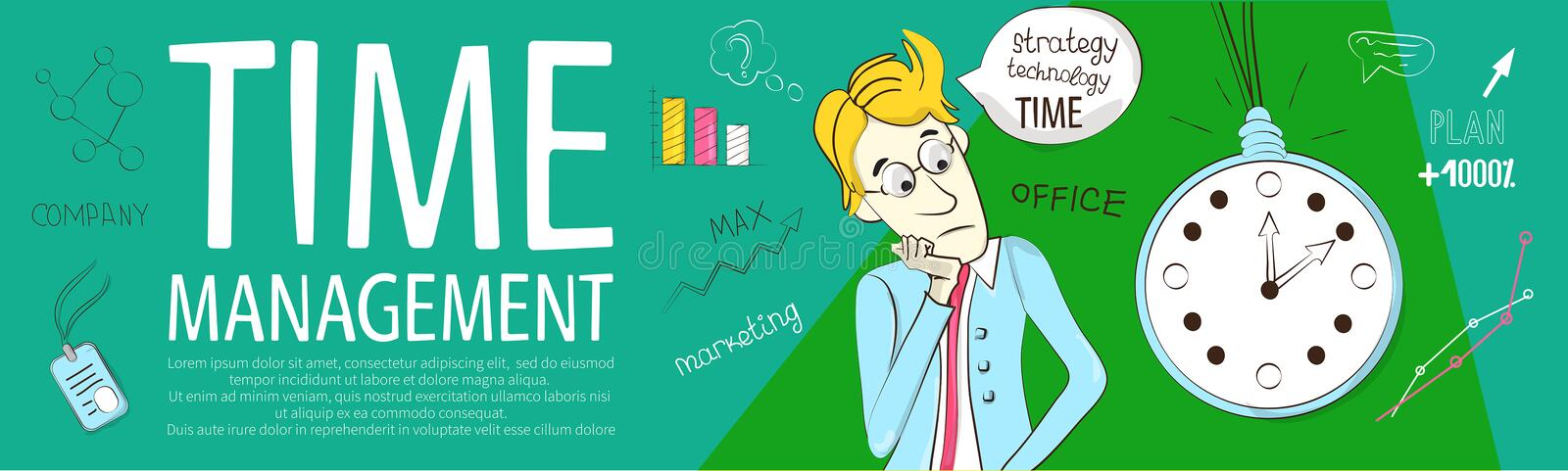 Banner time management for educational site royalty free illustration